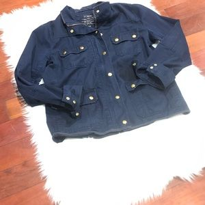 J.Crew Downtown Waxed Field Jacket Navy Size M